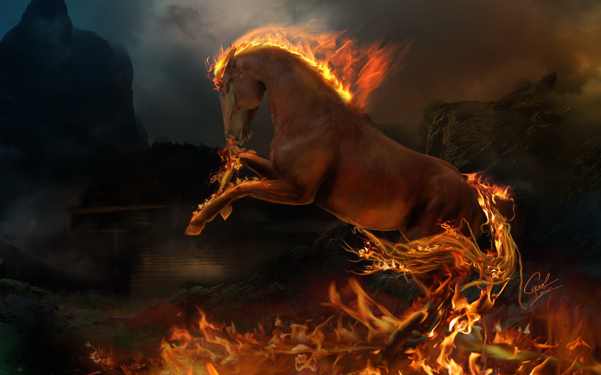 fire horse cool wallpapers desktop Desktop Backgrounds for HD 1920x1200