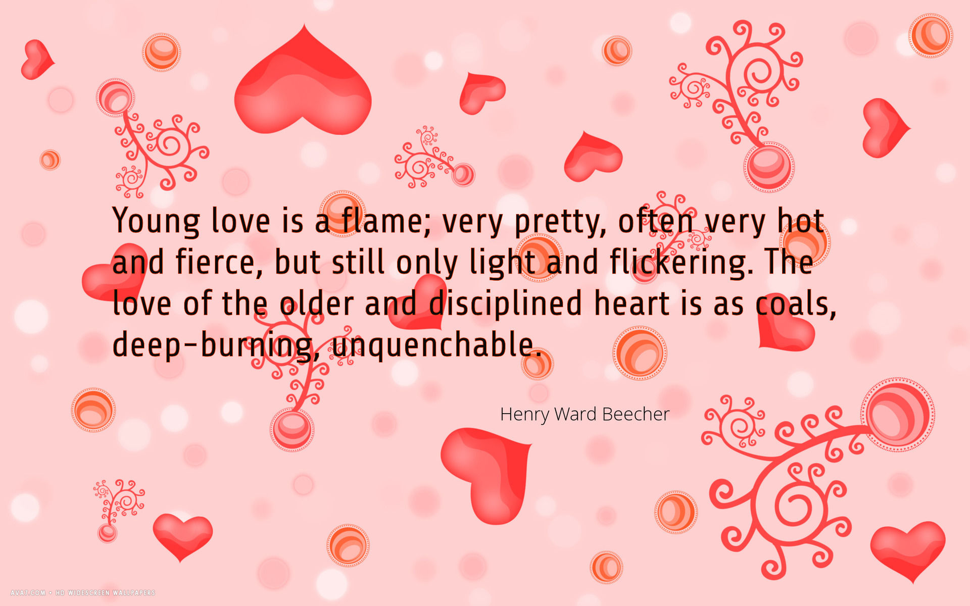 love quote young flame old coal hearts henry ward beecher hd 1920x1200