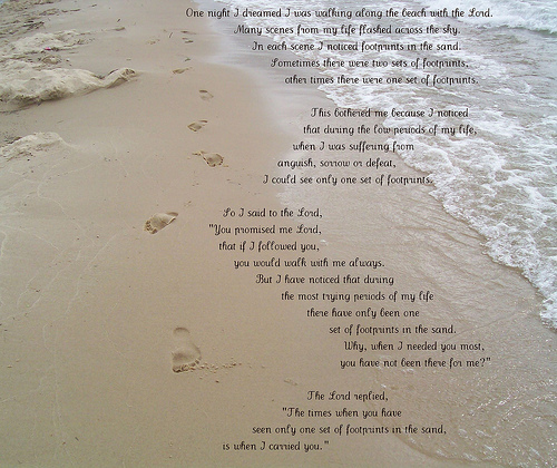 Footprints In The Sand Poem Printable Footprints in the sand poem 500x420