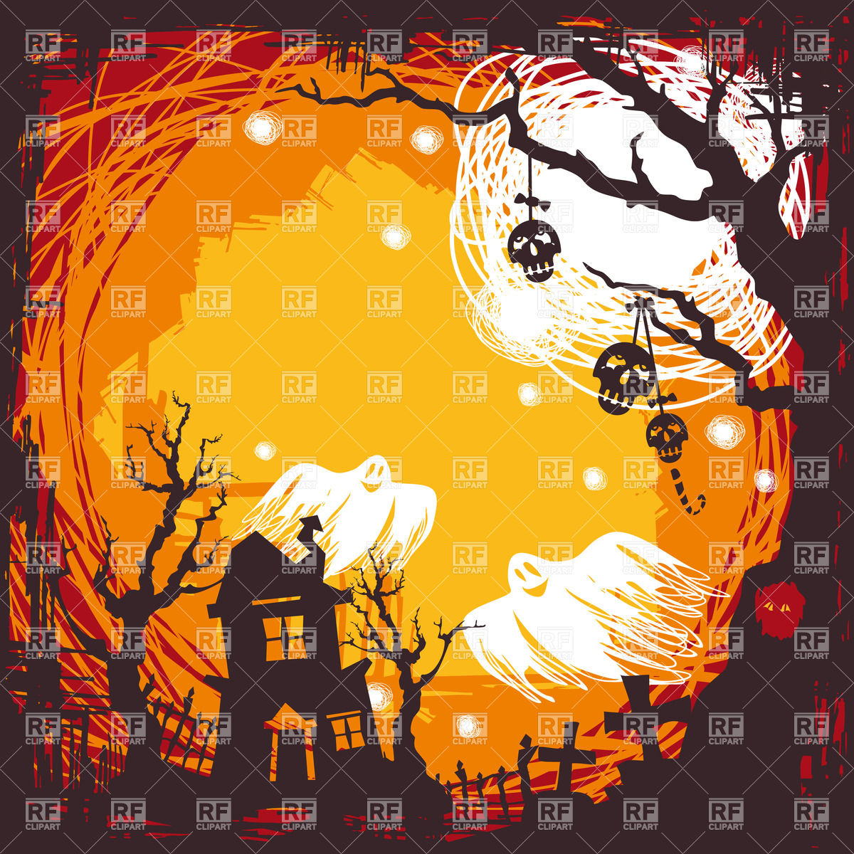 Spooky halloween background with house on graveyard and flying 1200x1200