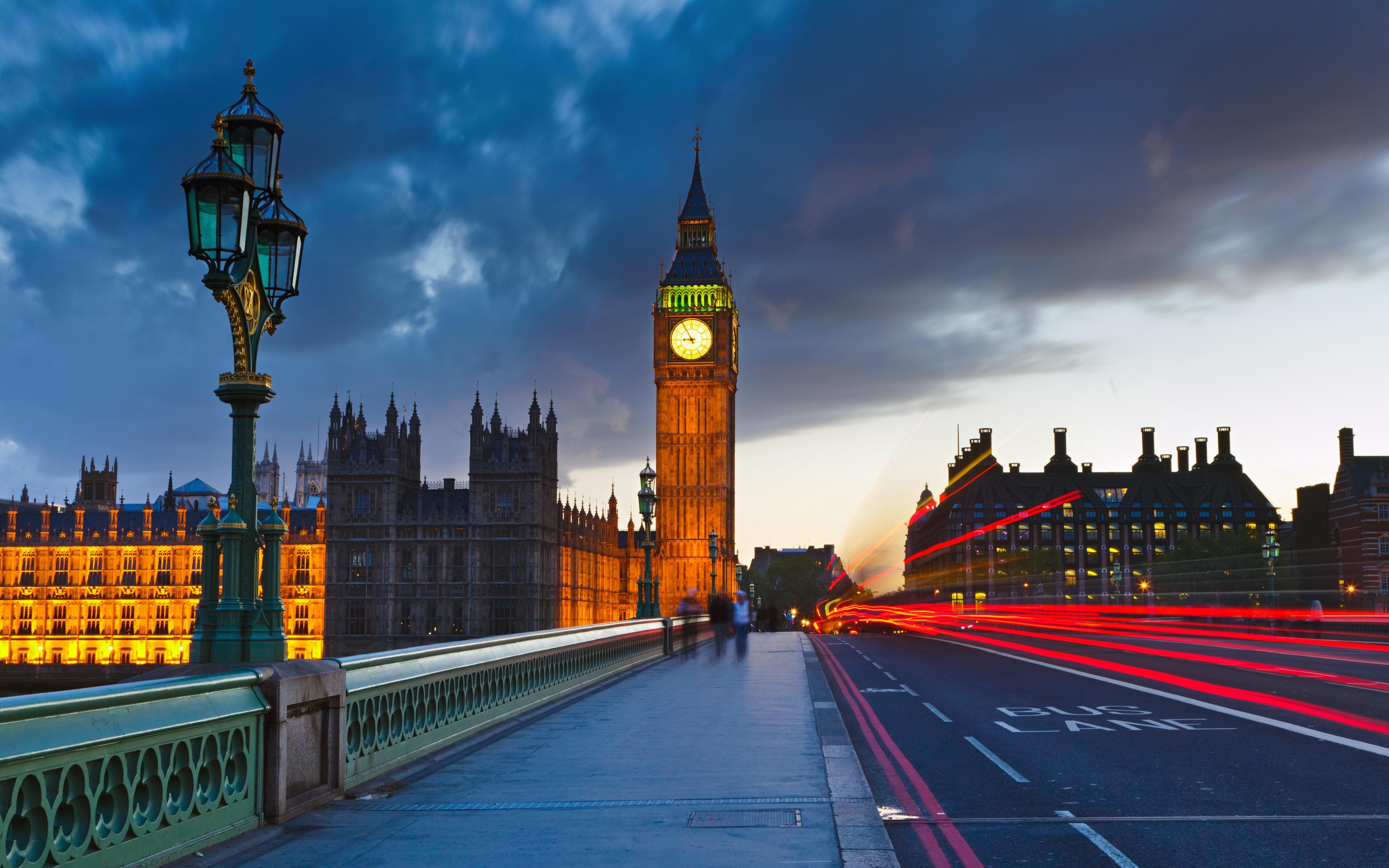 London Big ben Evening Traffic Wallpaper Background Ultra HD 4K 3840x2400