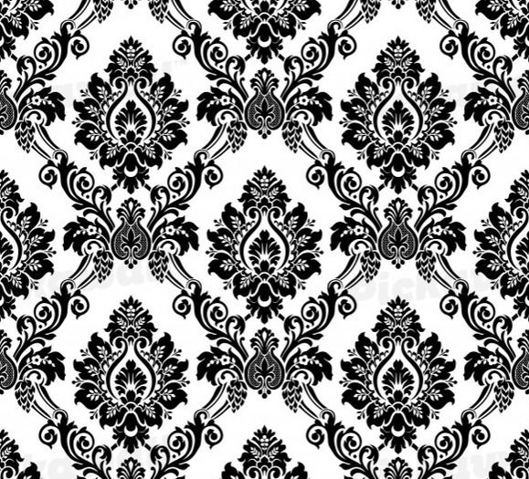 Black and White Damask Pattern Removable Wallpaper for sale in 579x525