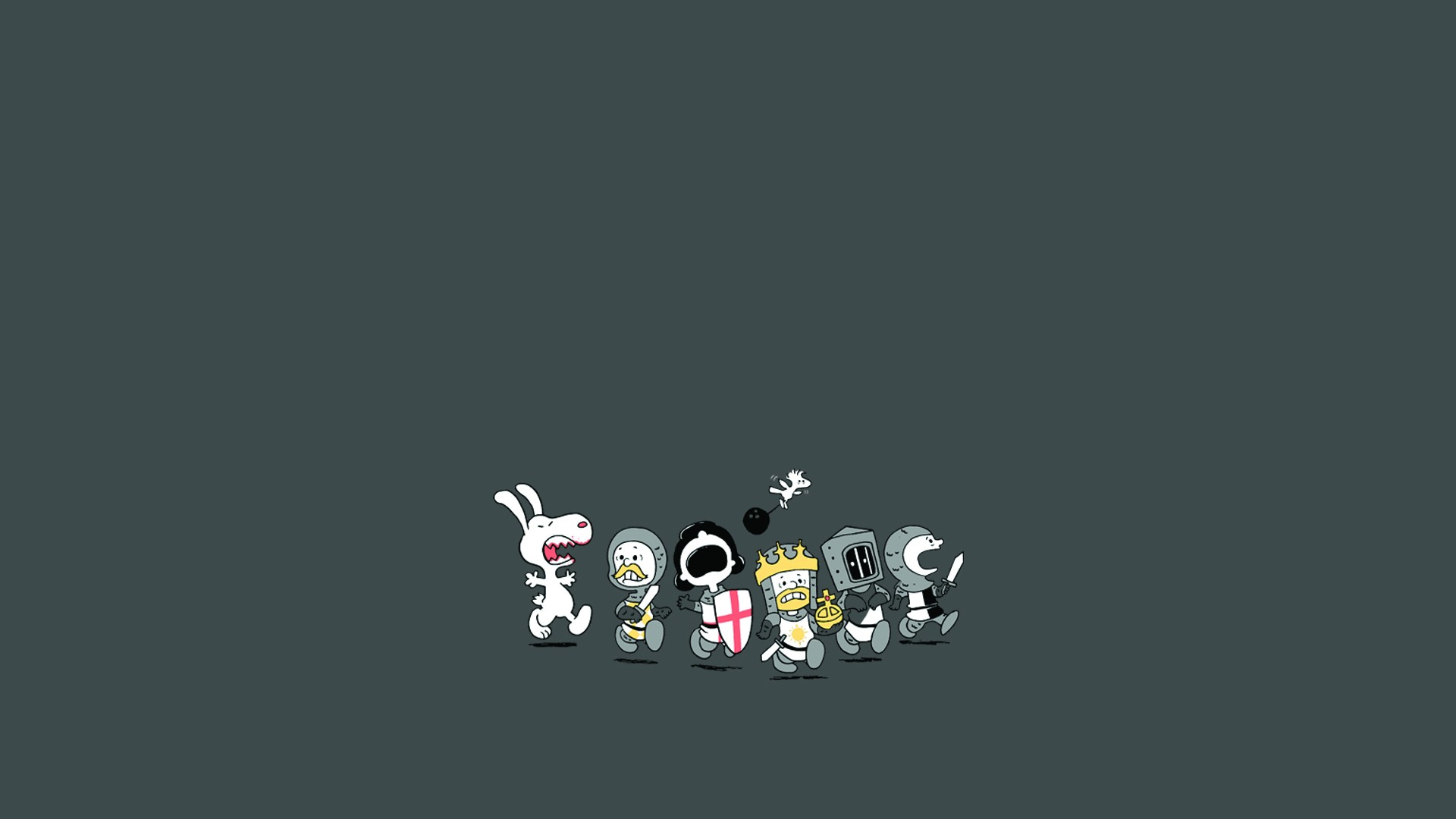 Python Holy Grail Peanuts Knights humor funny wallpaper background 1920x1080