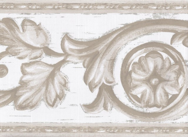 White Molding Swirls Wallpaper Border Roll   Traditional   Wallpaper 640x466
