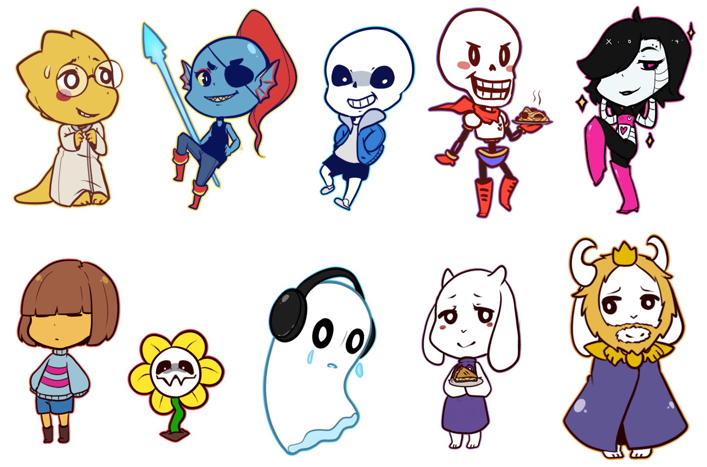 Undertale Characters by PaperCactus 1449x957