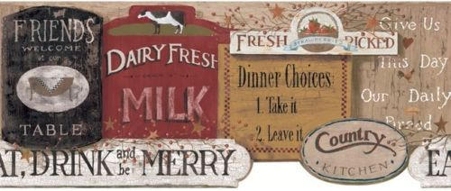 Country Kitchen Signs  Wallpaper Border by York Kitchen Signs 500x212