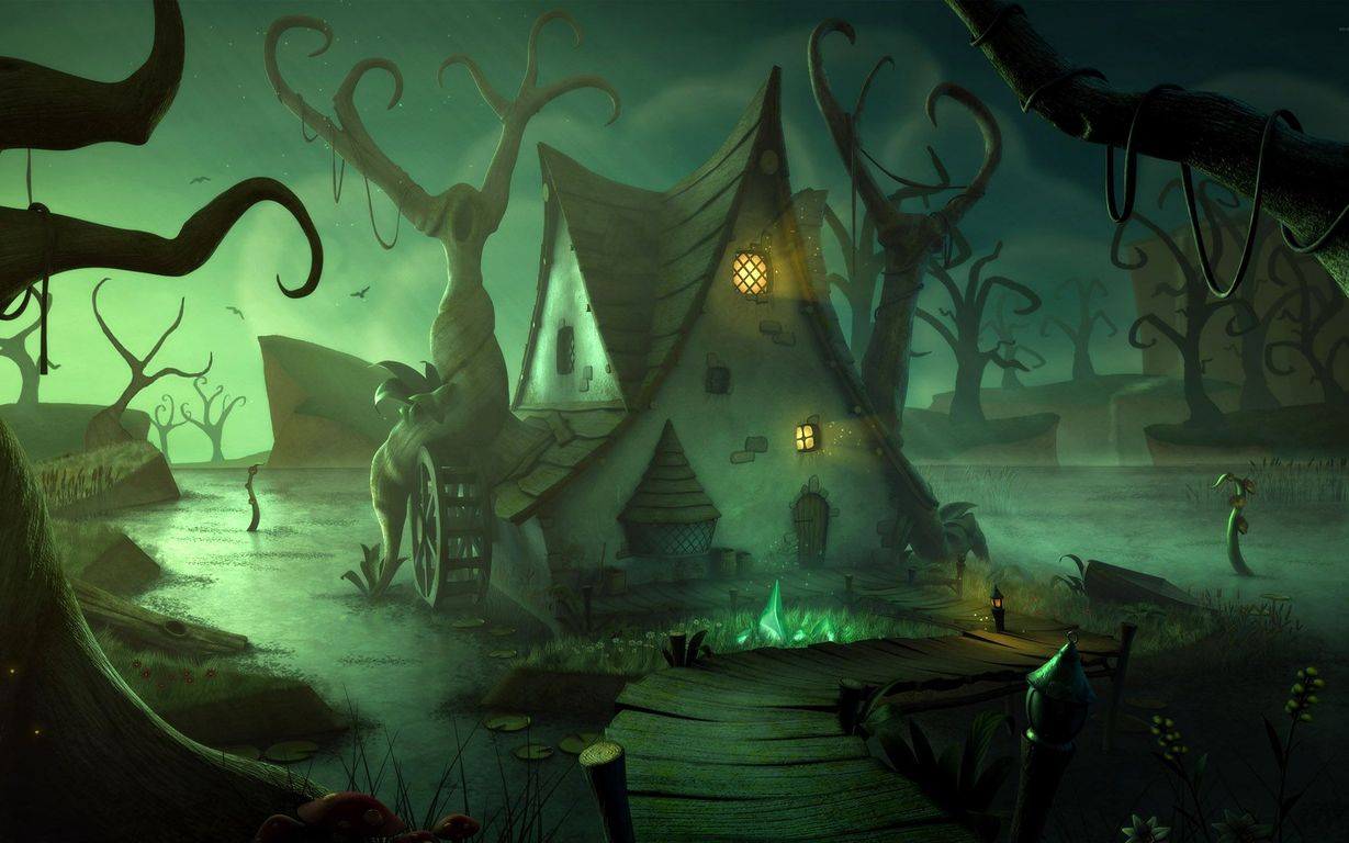 Download Dark green swamp and house wallpaper 1229x768