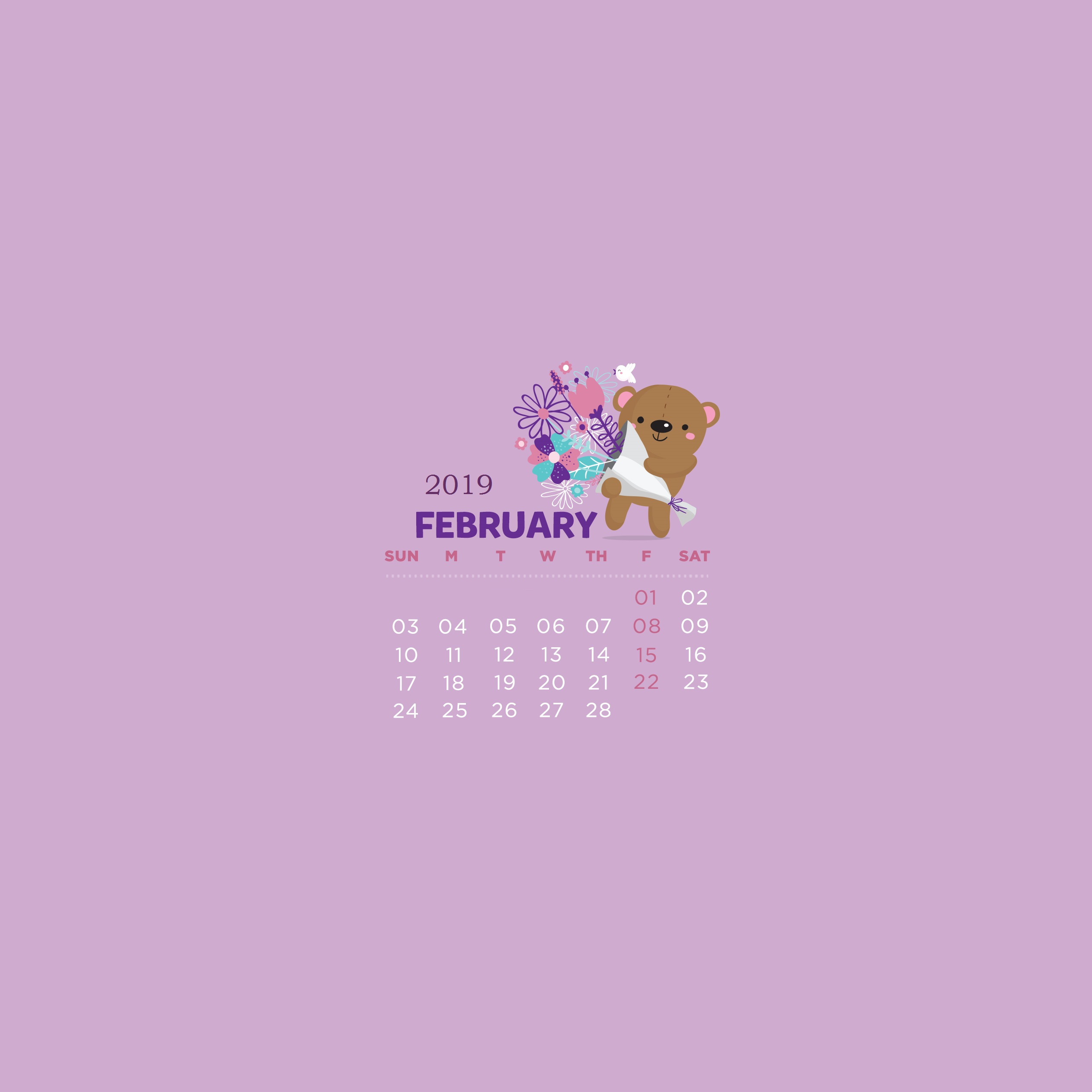 February 2019 Calendar Wallpapers Calendar 2019 2524x2524