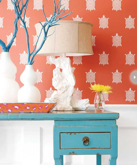 Kravet Lee Jofa Wallpaper Orange and blue rooms Pinterest 550x661