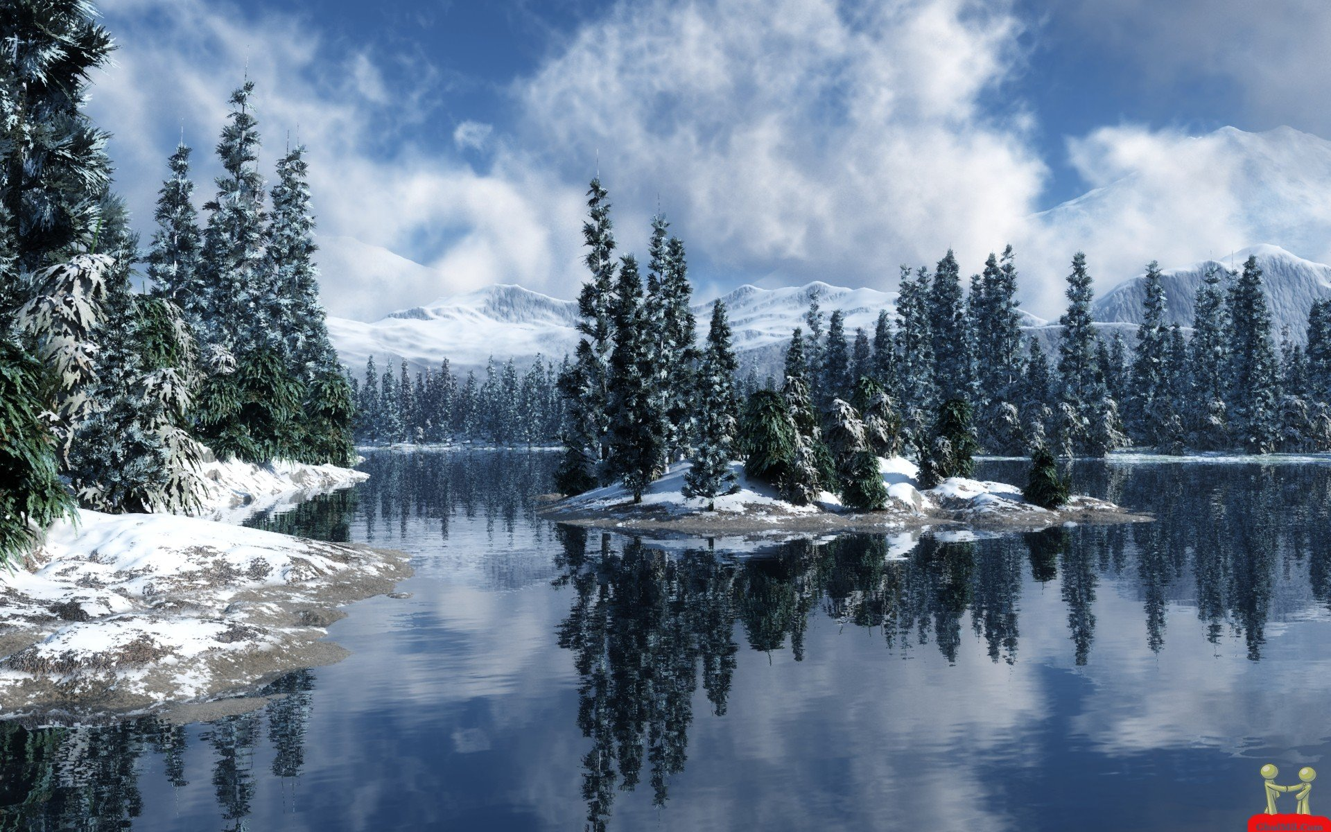 Snowy trees by the lake Wallpaper Wallpapers   High resolution 1920x1200