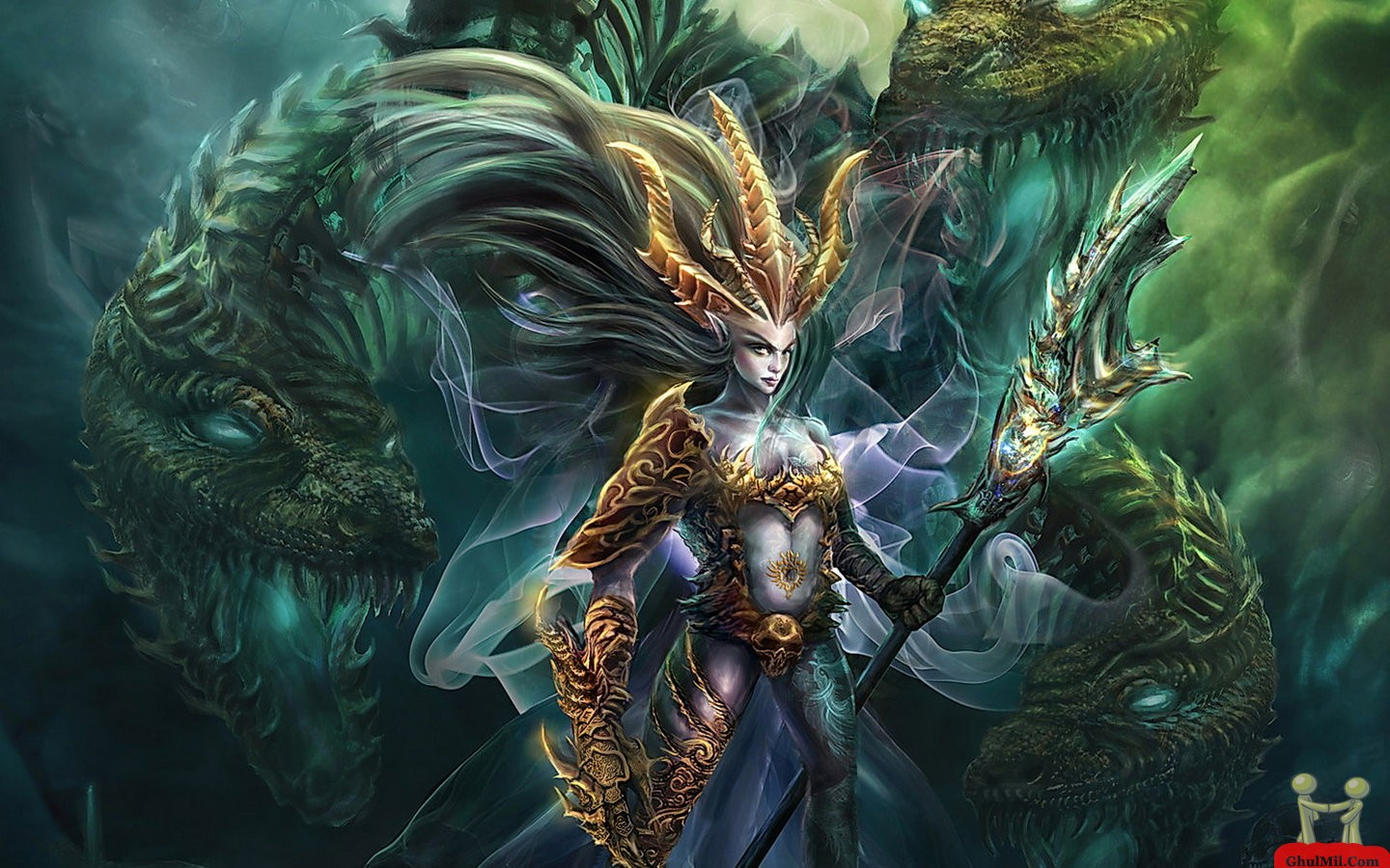 3D Strange Girl With Dragon Wallpaper E Entertainment 1440x900
