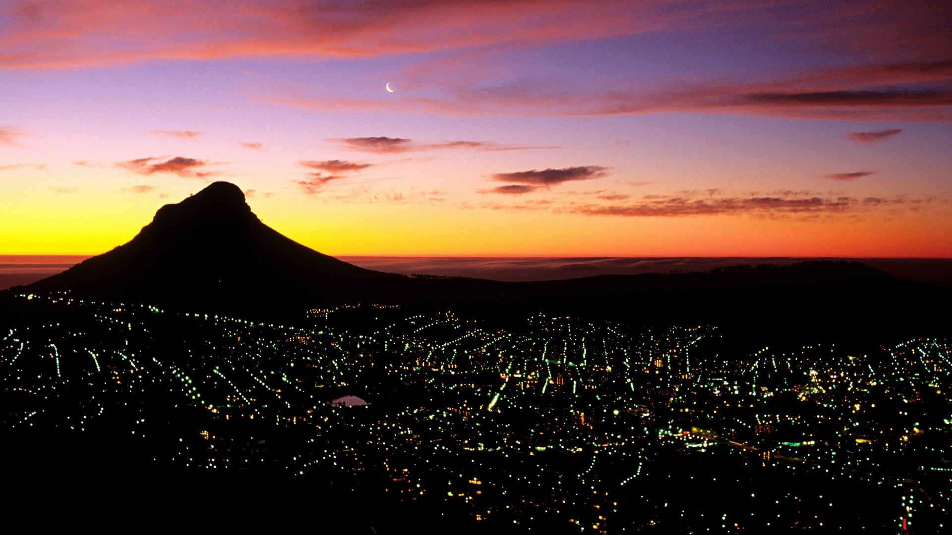 Wallpaper cape town south africa city night light mount sunrise 1920x1080