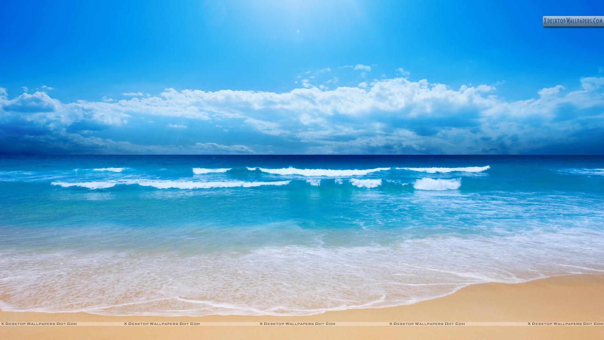 Cool Blue Sea Shore Scene And Waves Wallpaper 1920x1080