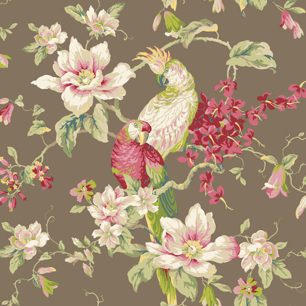 Brown Tropical Birds With Magnolias Wallpaper   Wall Sticker Outlet 600x600
