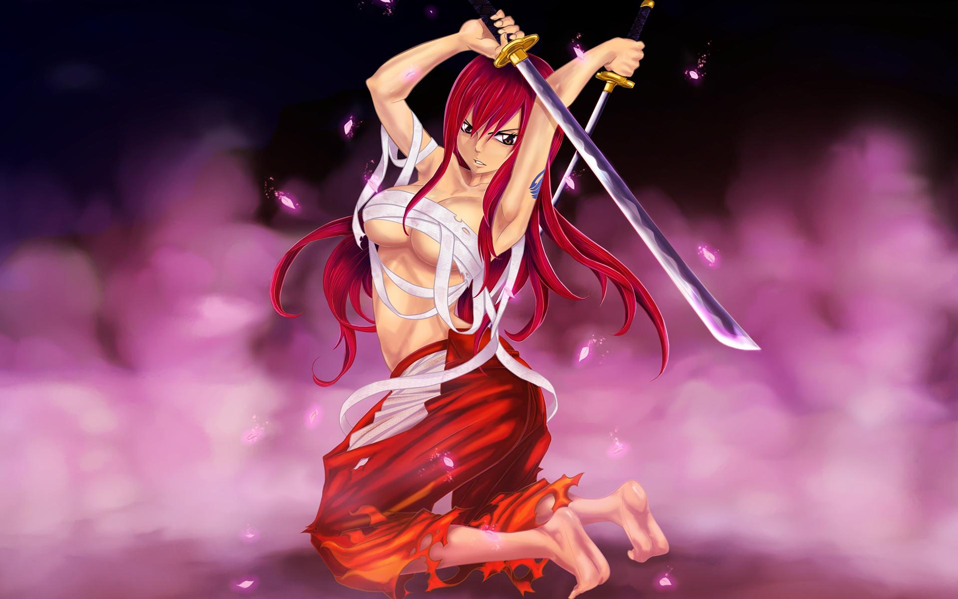 sexy erza scarlet katana girl anime fairy tail hd wallpaper 1920x1200 1920x1200
