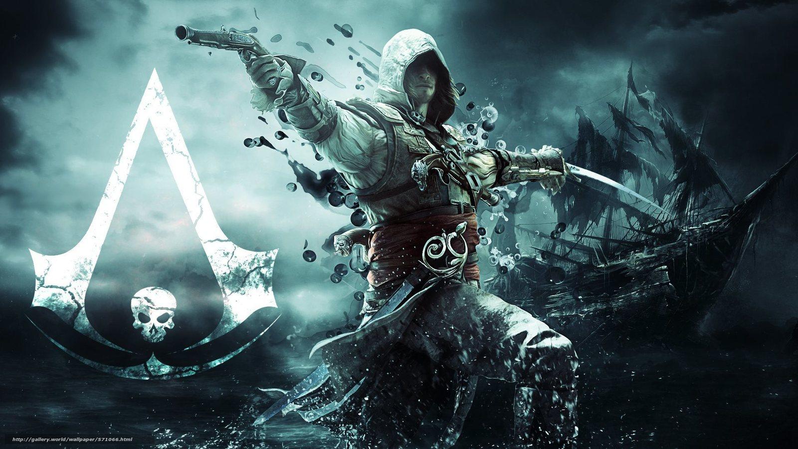 Download wallpaper Assassin pirate ship flag desktop wallpaper 1600x900