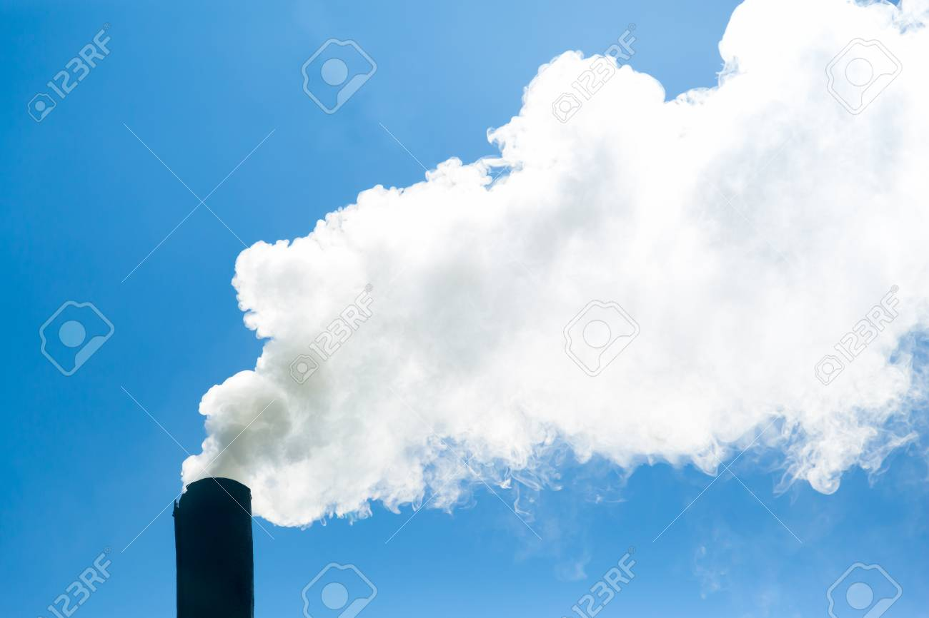 White Smoke Comes From The Chimney On The Background Of Blue 1300x866