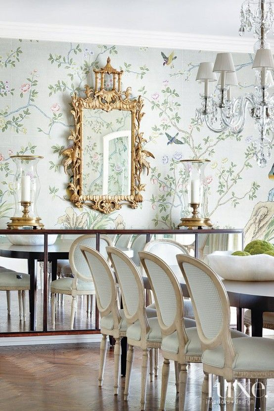 Gracie Hand Painted Wallpaper From Yrmural Studio With Competitive X With Dining  Room Wallpaper Designs