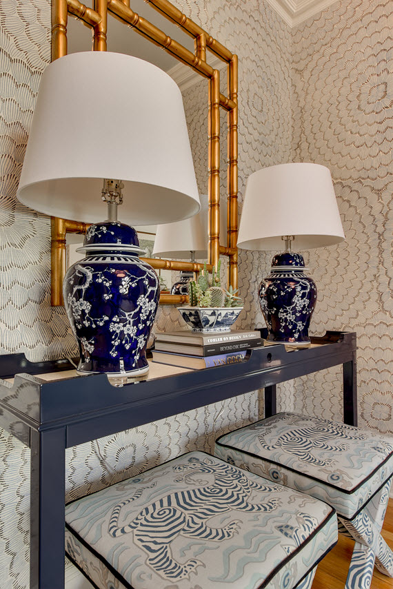 table with X benches in Clarence House Tibet fabric by Simplified Bee 570x855