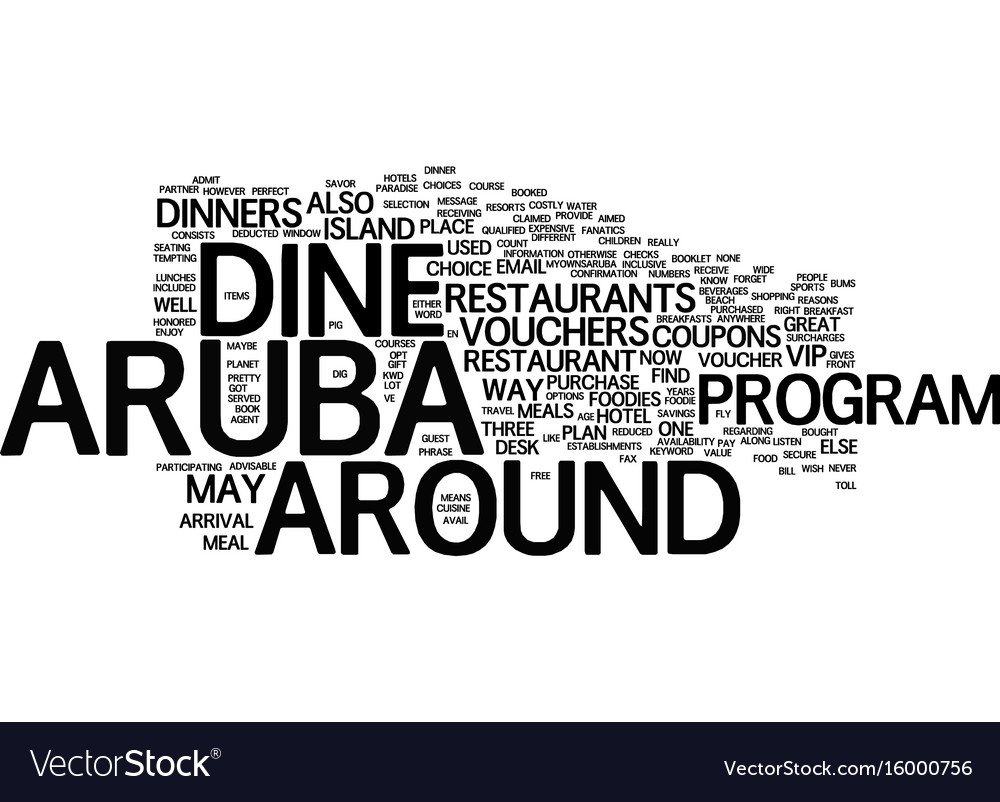 Aruba dine around text background word cloud Vector Image 1000x802