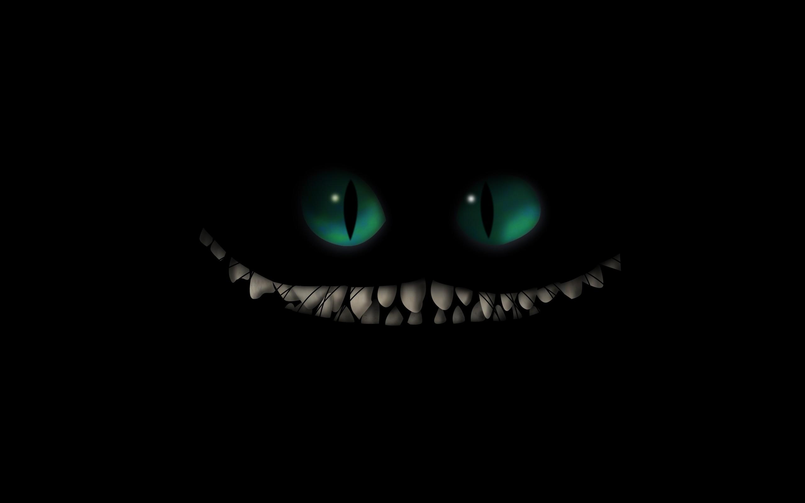 cartoons eyes Alice in Wonderland teeth Cheshire Cat 2560x1600