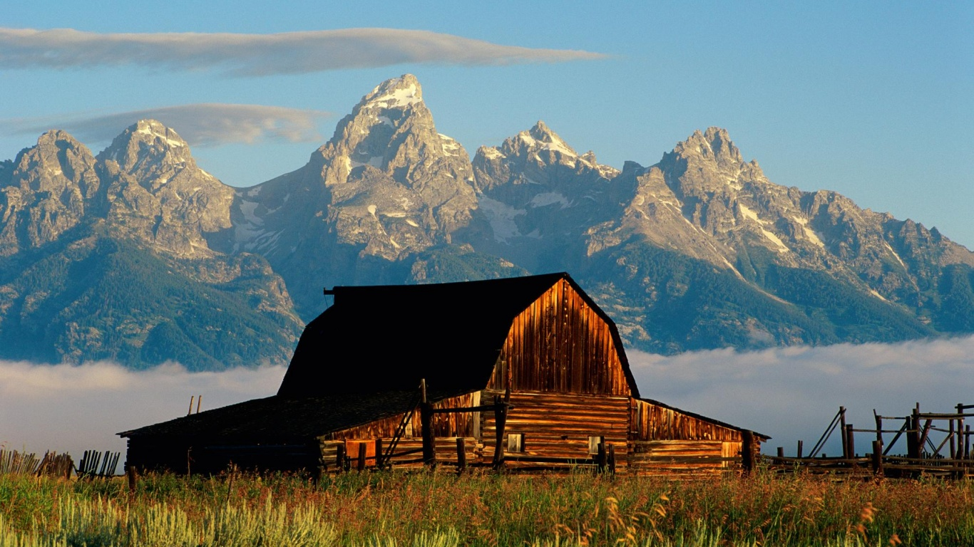 1366x768 Mountains and cabin desktop PC and Mac wallpaper 1366x768