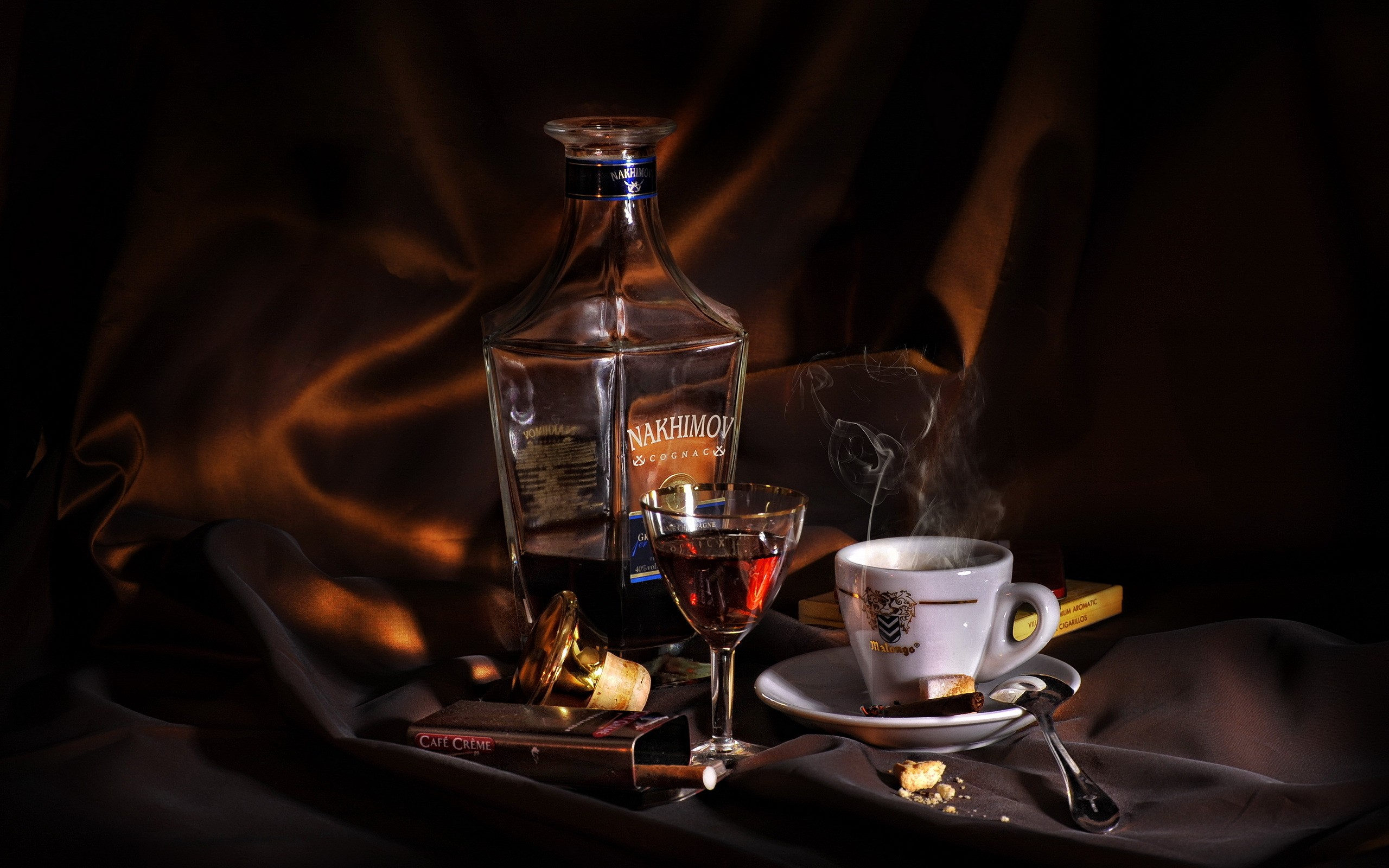 Cognac Alcohol Coffee Cigar wallpaper background 2560x1600