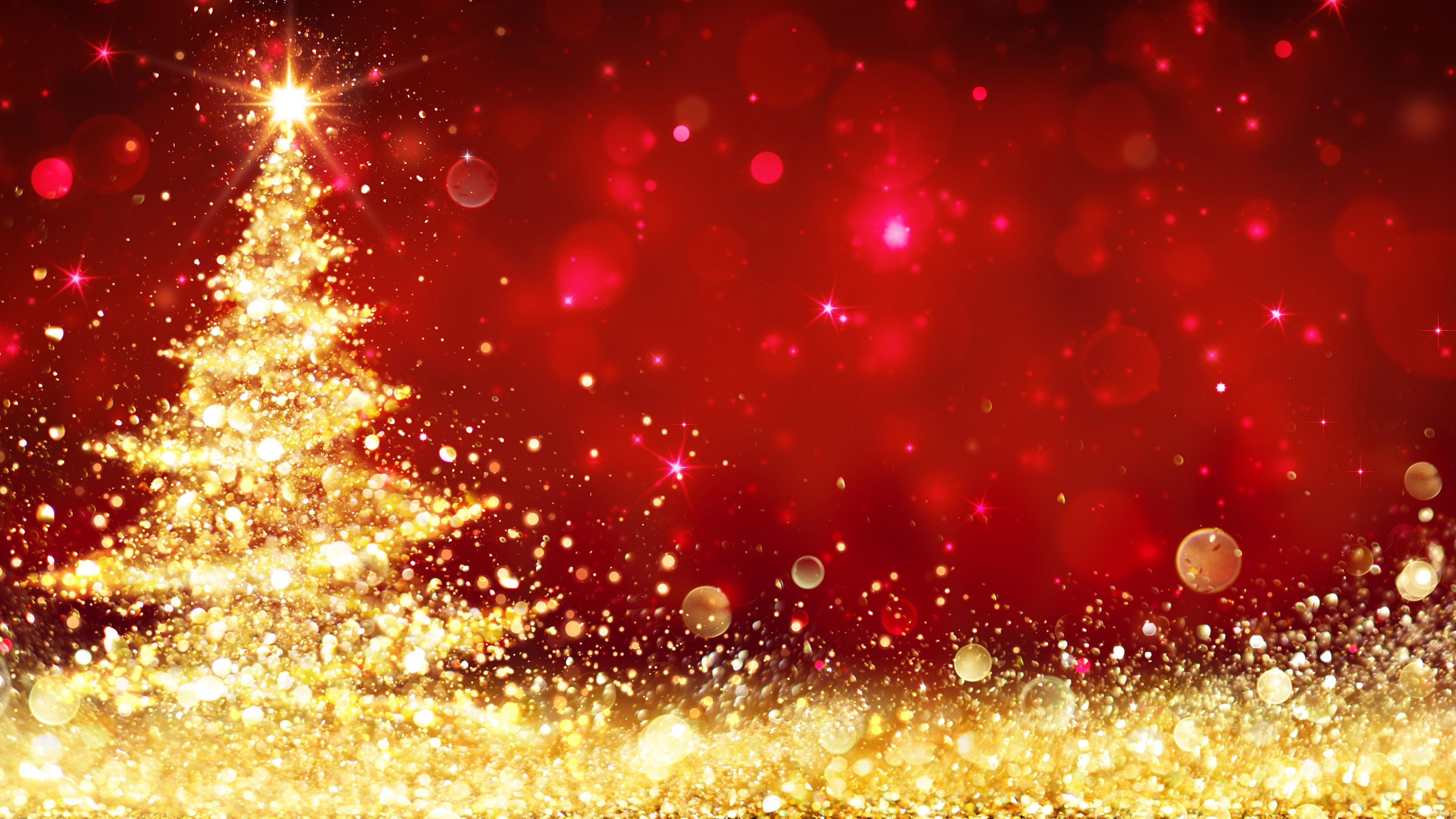 Merry Christmas Tree 4K Desktop HD Wallpaper Background 3840x2160