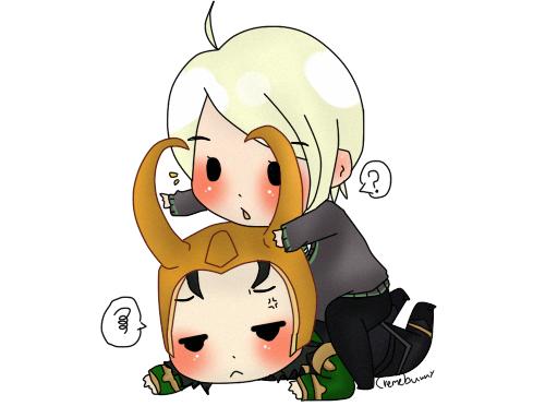 Chibi Draco with Loki by Cremebunny 500x372