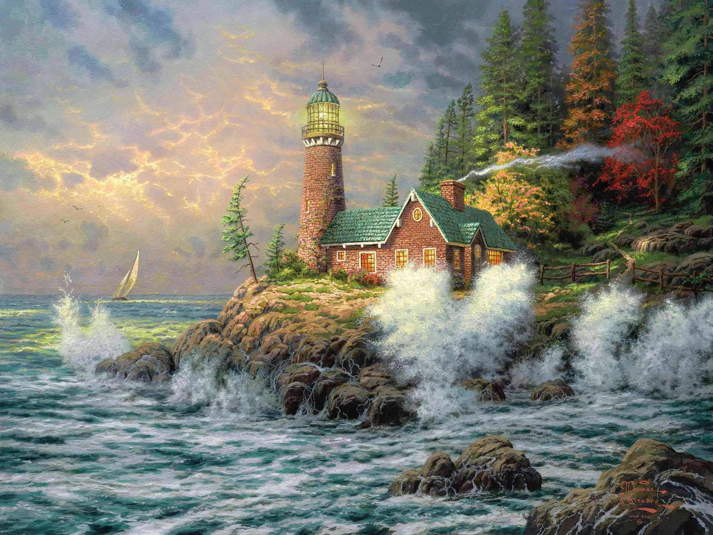 Wallpaper Thomas kinkade lighthuse sea paint wave desktop 2391x1795