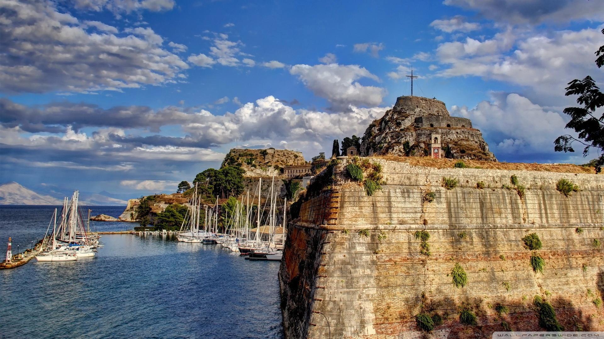 Greece Sky Coast Corfu Clouds 4K HD Desktop Wallpaper for 4K 1920x1080