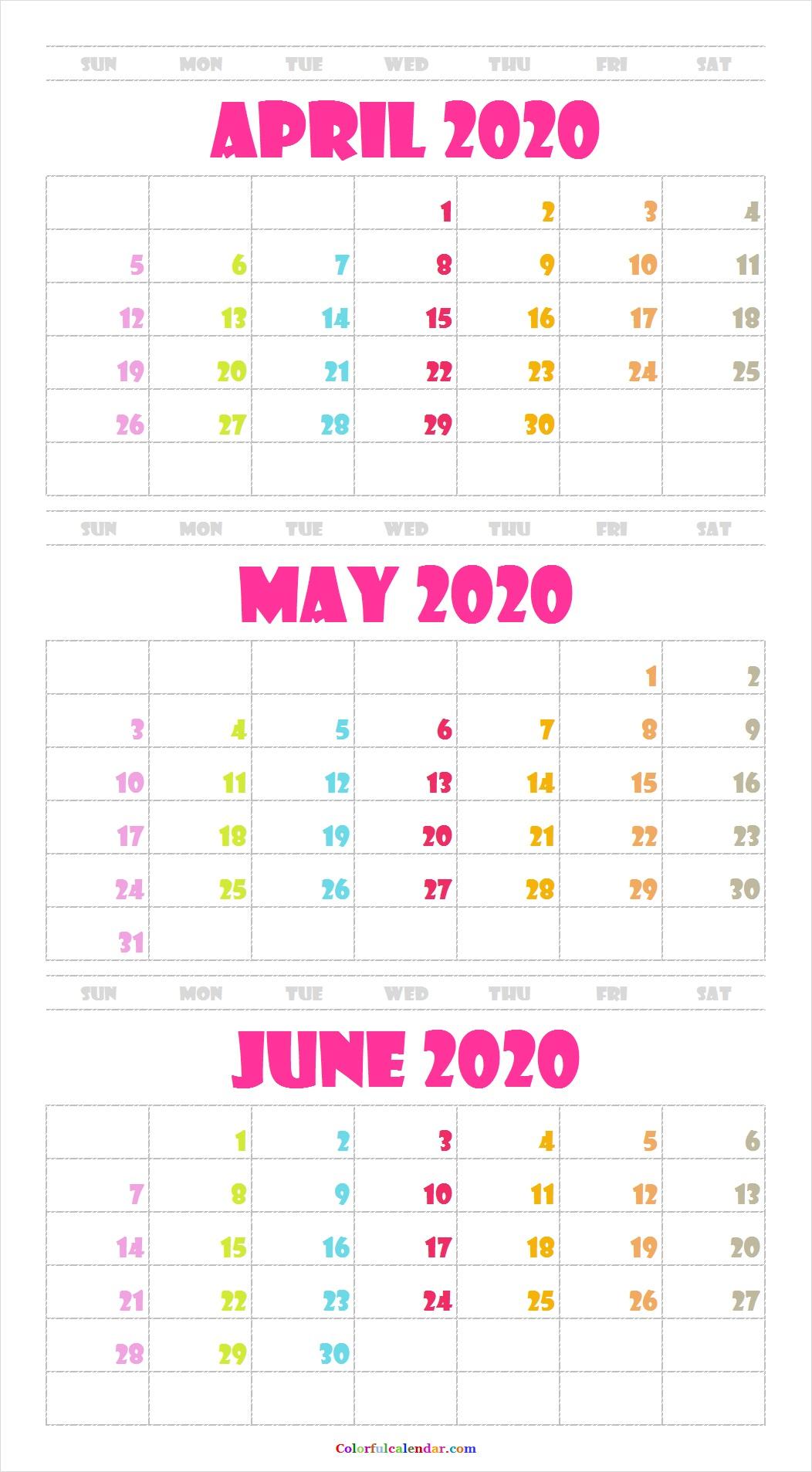 Cute April May June 2020 Calendar Wallpaper 2020 Calendar 1052x1907