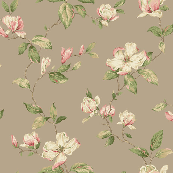 Brown Magnolia Sidewall Wallpaper   Wall Sticker Outlet 600x600