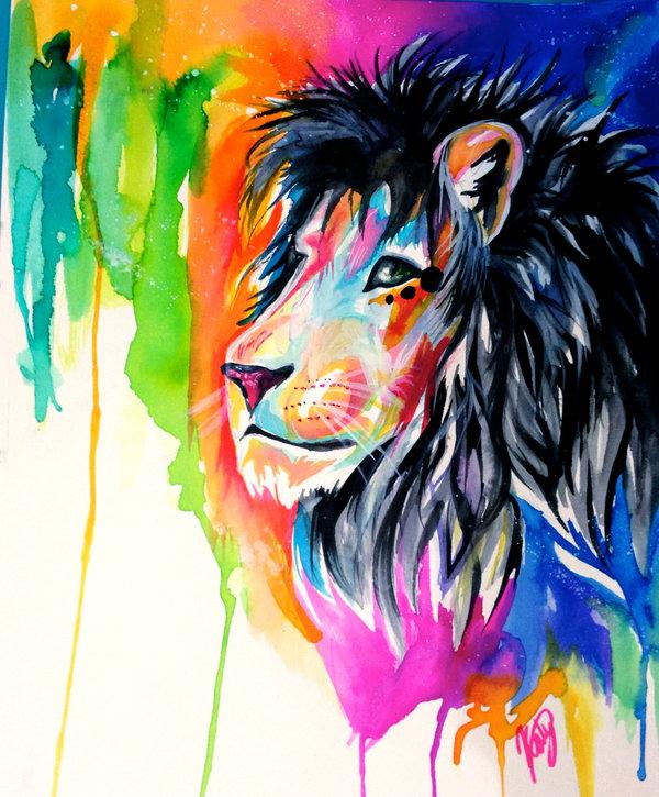 Rainbow Lion by Lucky978 600x725