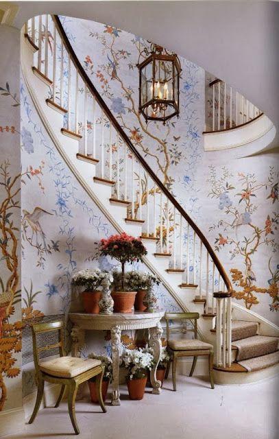 Gracie silk chinoiserie wallpaper Scafide Project Pinterest 407x640