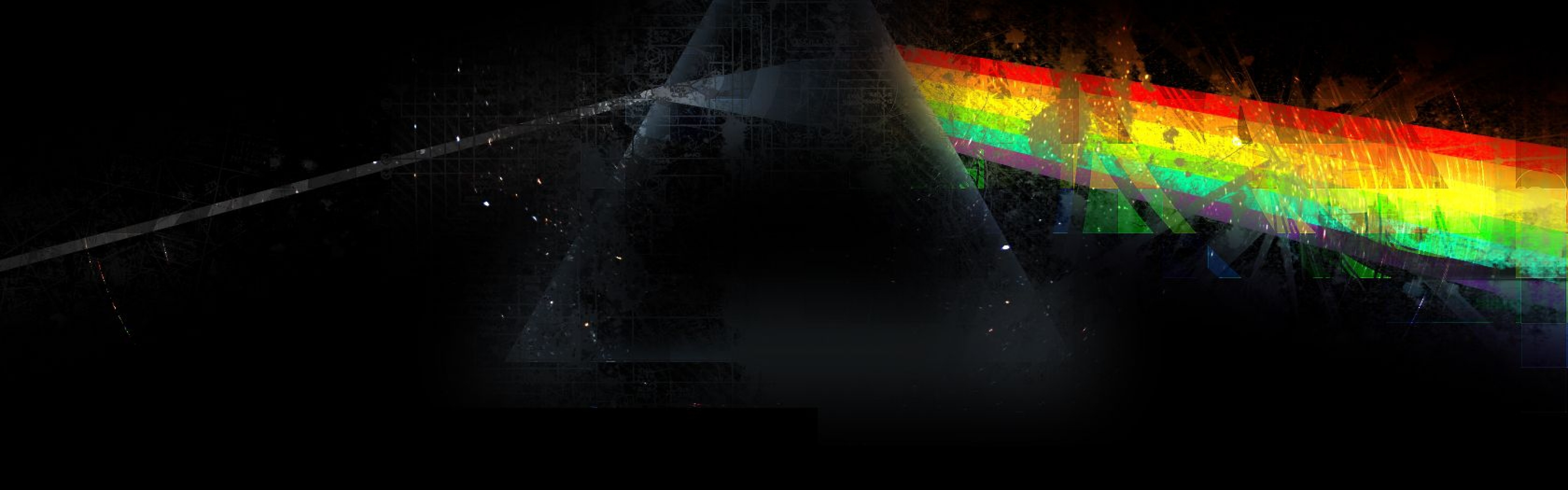 3840x1200 Wallpaper pink floyd triangle rainbow graphics 3840x1200