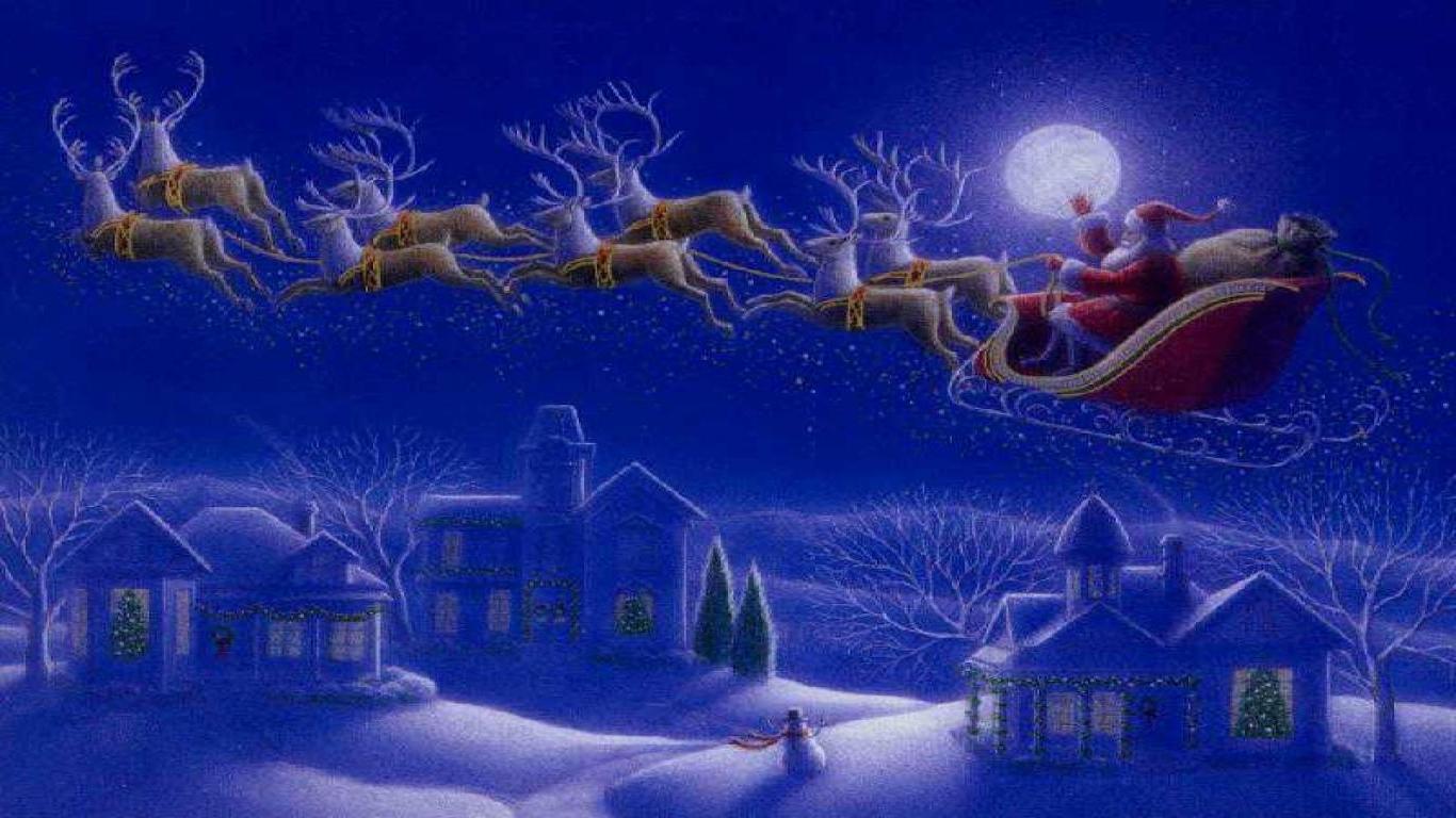 Christmas Wallpaper For Computer   Night Before Christmas 1366x768