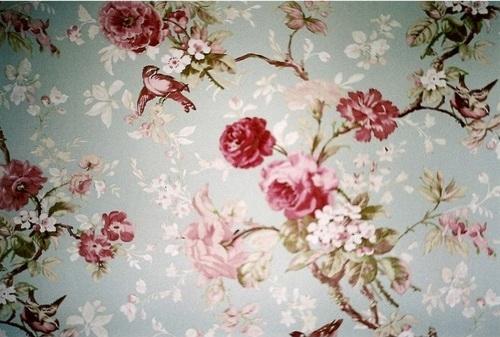 birds flowers pink runawaylovebloggno vintage wallpaper   image 500x337