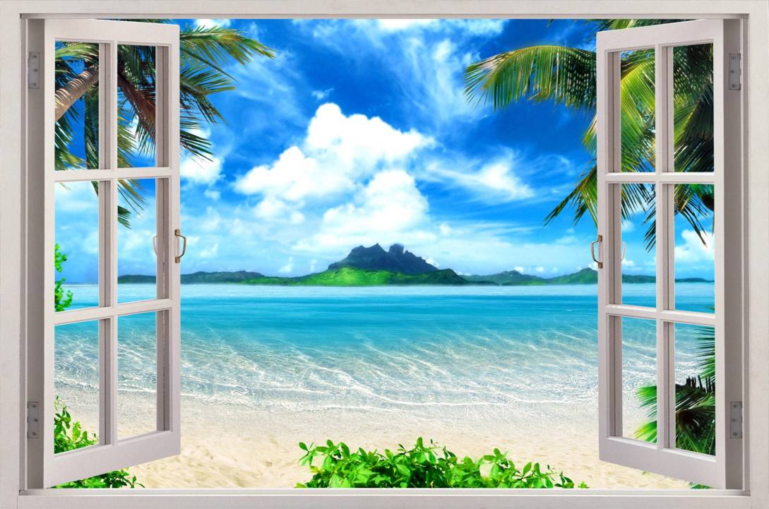 Beach View 3D Window Decal WALL STICKER Home Decor Art Wallpaper Mural 1089x721