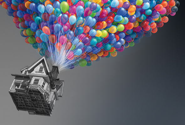 Wallpaper Up house fly movie funny balloons Disney desktop 590x400