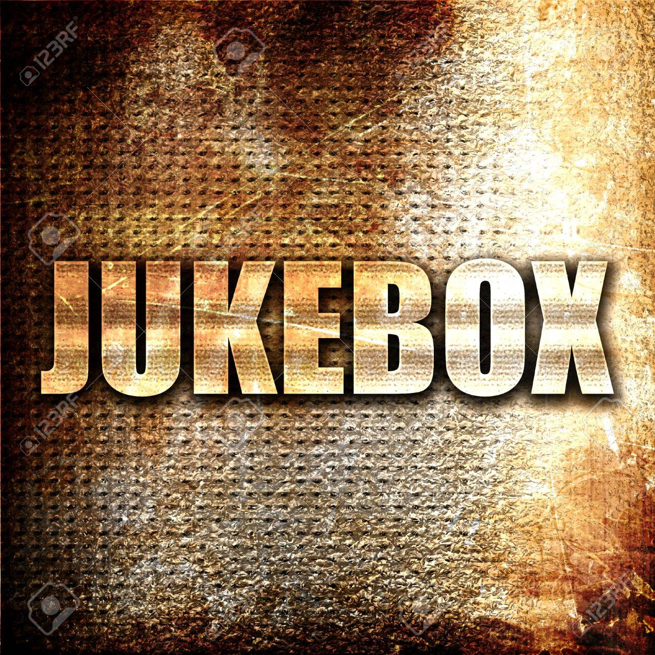 Jukebox 3D Rendering Metal Text On Rust Background Stock Photo 1300x1300