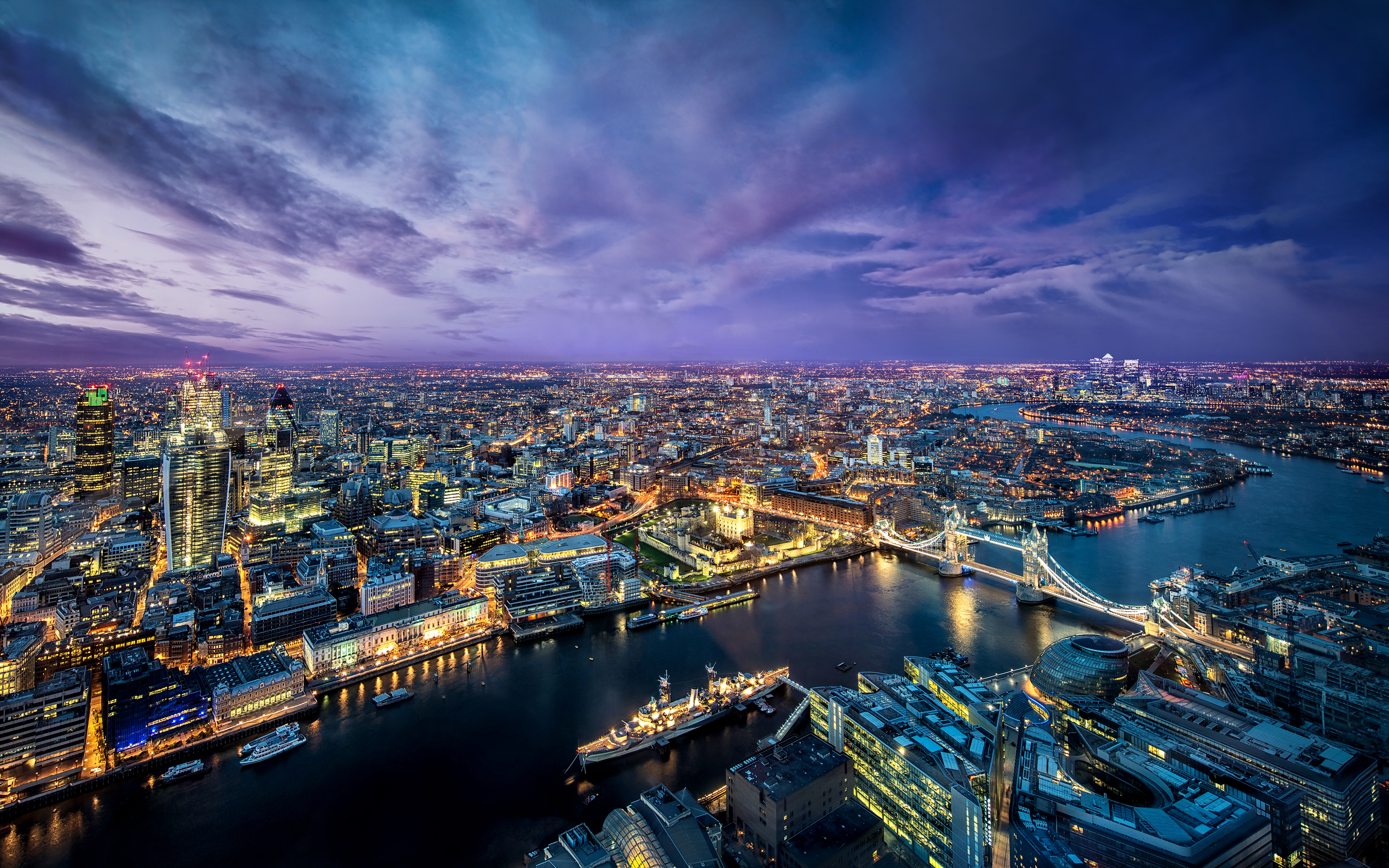 London aerial view, England Desktop wallpapers 1024x600