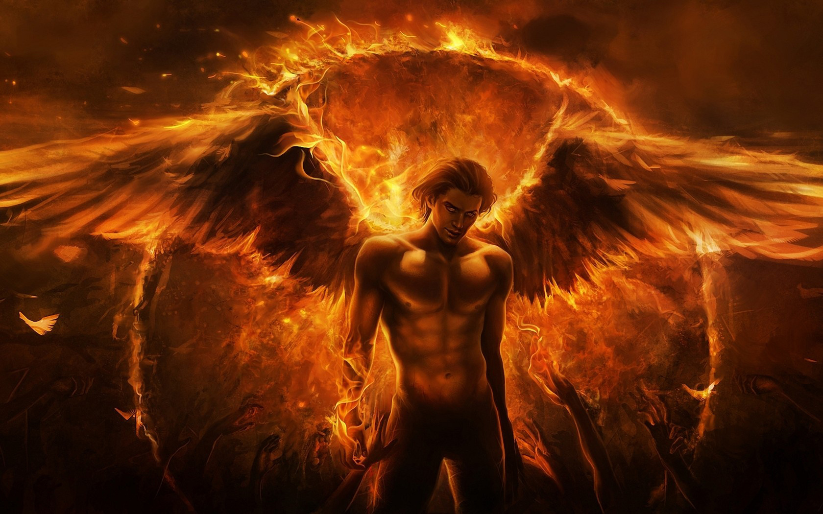 WallSE Man angel fire wing hand flame desktop 3D 1680x1050