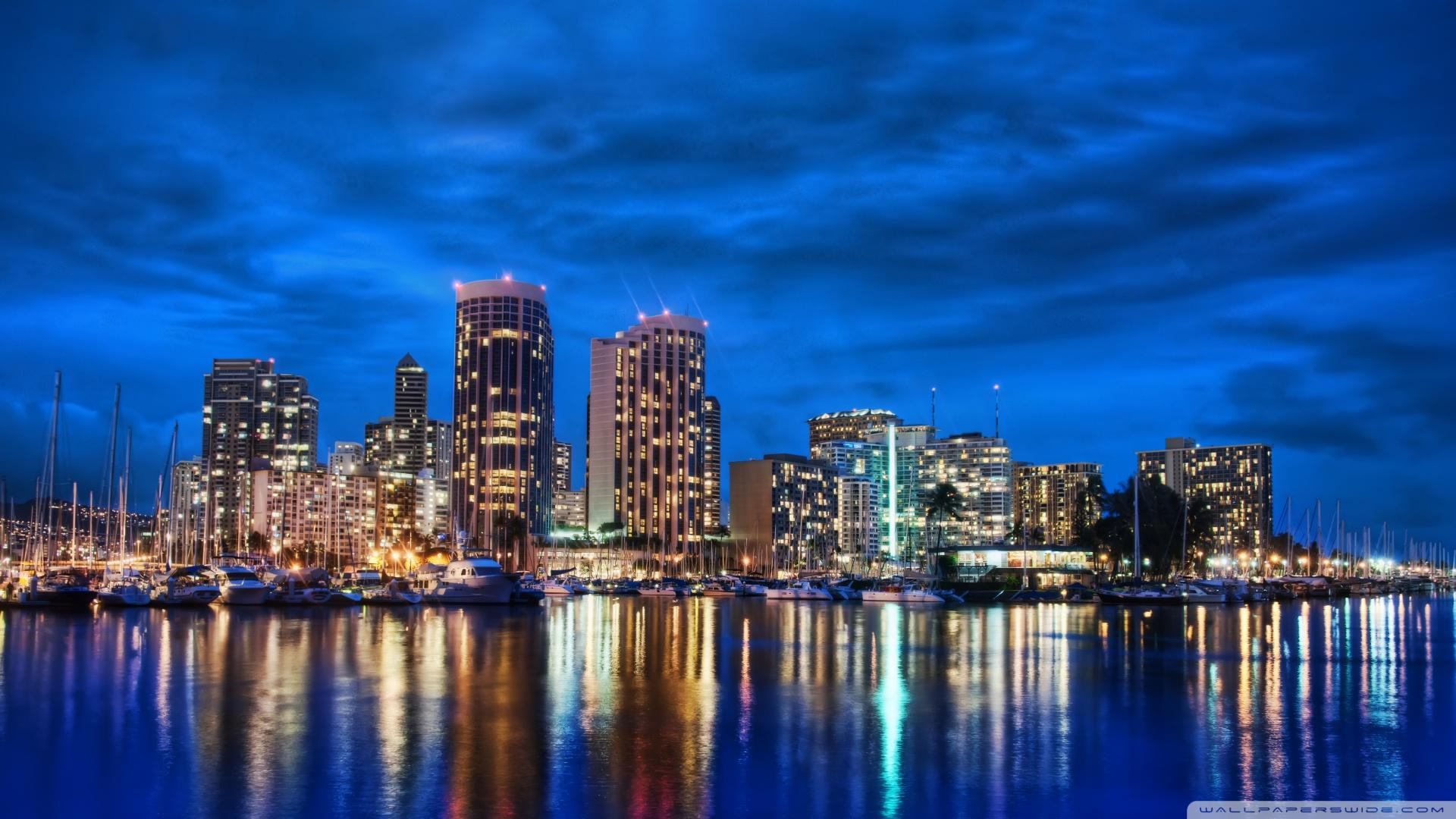 Waikiki Skyline At Night 4K HD Desktop Wallpaper for 4K Ultra 1920x1080