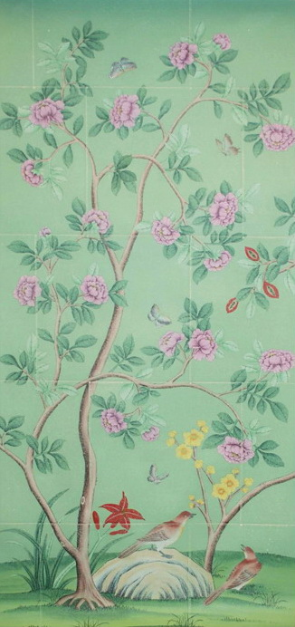 hand painted wallpaper chinoiserie wallpaper silk wallpaper 326x692