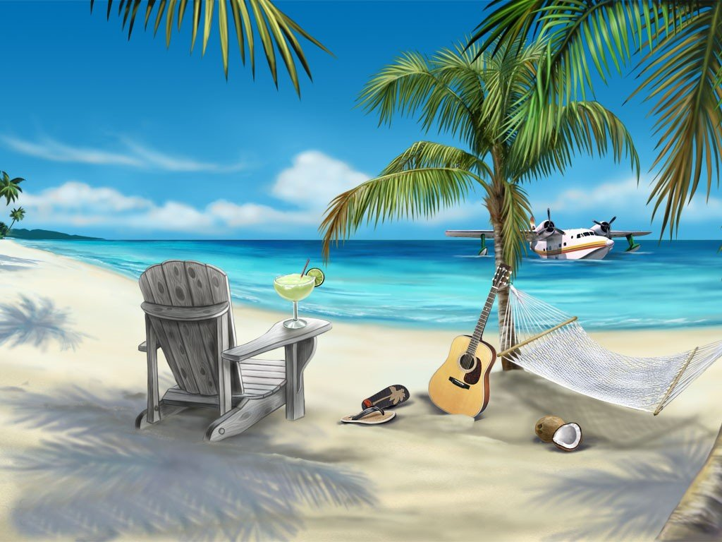 This animated beach desktop wallpaper has everything you need to be 1024x768