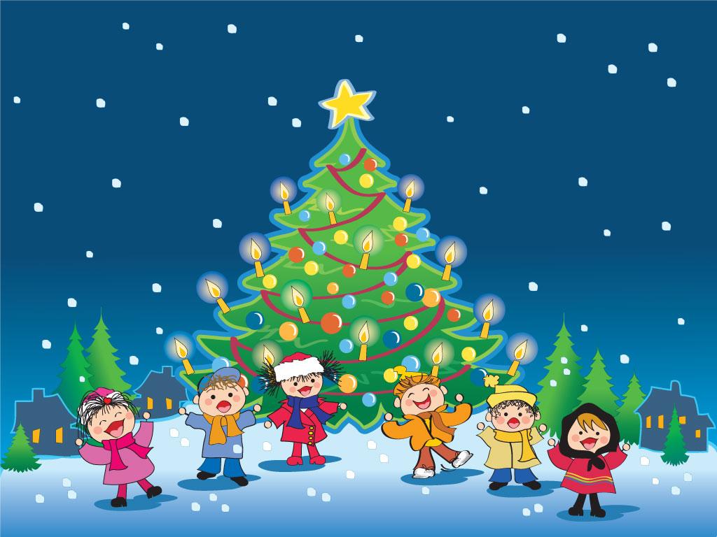 Kids Christmas cartoon HQ wallpaper 1024x768