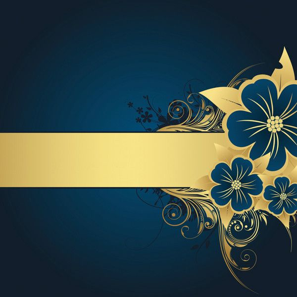 Blue Gold Flower Flourish Background 12 x 12 Paper 1 liked on 600x600