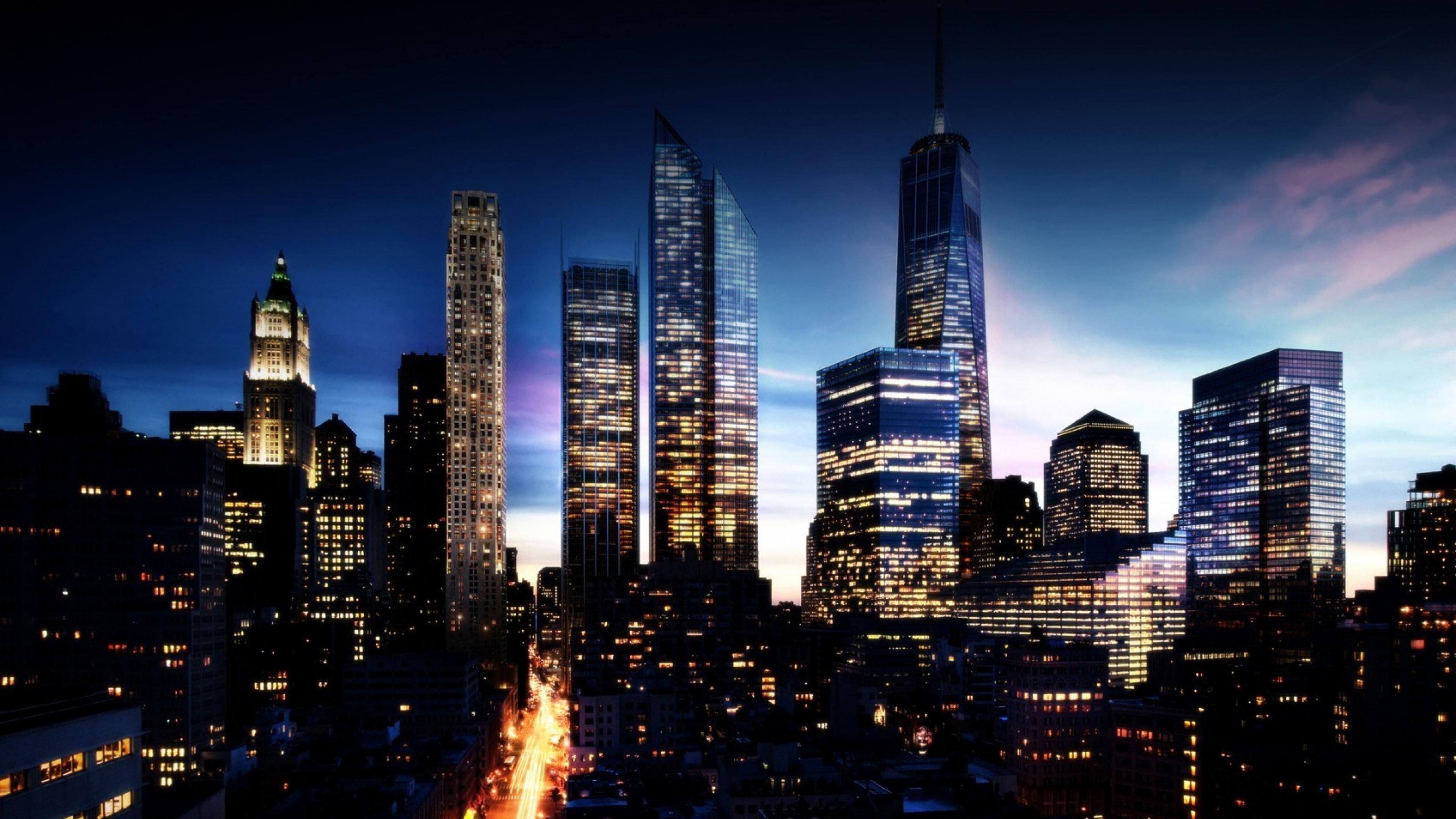 3840x2160 Wallpaper city night lights city lights buildings sky 3840x2160