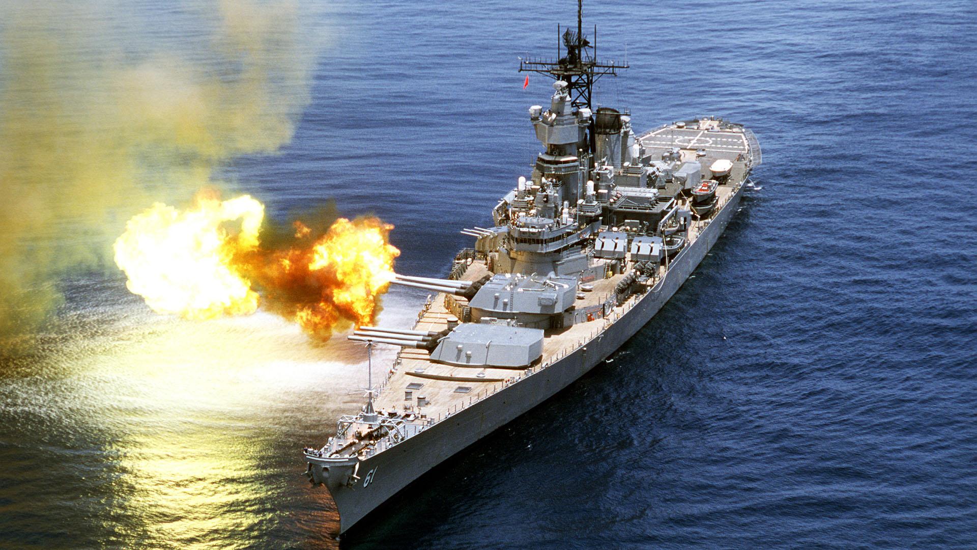 Uss Iowa Battle Battleship Fire Gun Guns Navy Design Desktop Wallpaper 1920x1080